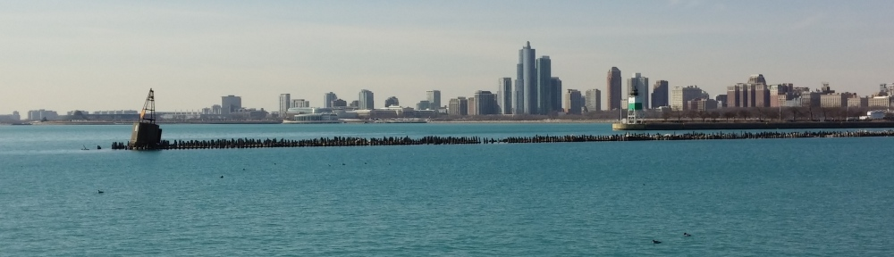 Overlooking the Chicago sky and coast line from the eastern half of Navy Pier