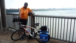 AJ midspan on the Geo Washington Bridge with JHMC medicl EMS bike, 2010