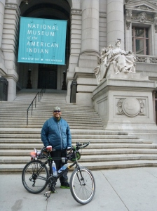 Antoine standing with his bike Revelator near the start line of the 2013 Five Boro Bike Tour